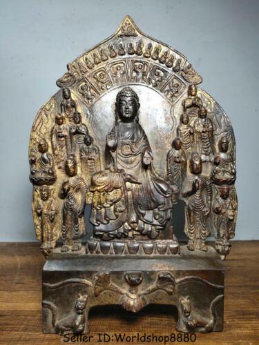 "12.8"" Old Buddhism Bronze Gilt Tibet Shakyamuni Amitabha Buddha Statue Shrines"
