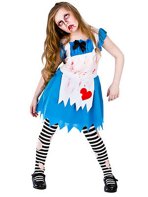Childrens Alice In Zombieland Horror Fancy Dress Up Party Halloween Costume New ()