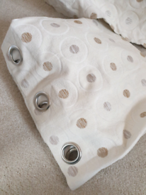 Floor length cream/natural heavy fully lined eyelet curtains