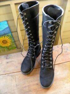 Ladies Tall 14 inches BLACK suede timberland BOOTS SIZE8