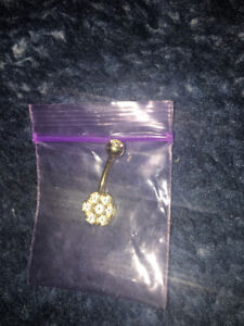 real gold belly button ring piercing flower