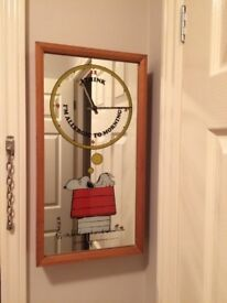 Snoopy mirror Clock