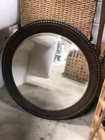 Large Antique Studded Circular Convex Wall Mirror