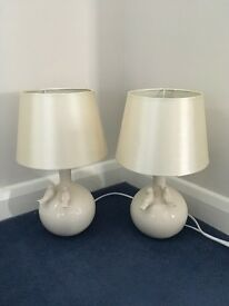Two cream bedside table lamps - birds.