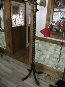 ANTIQUE SOLID OAK BARLEY TWIST HALL STAND TREE VINTAGE COAT RACK