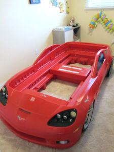 Step 2 Corvette Kids Bed Frame with twin mattress.