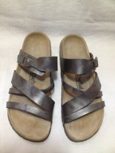 "New Birkenstock ""Betula"" Brown Leather Slide Sandals 6.5/7M"