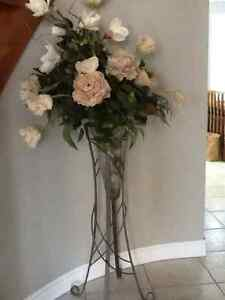 Glass vase with pewter floor stand and custom made floral arrang