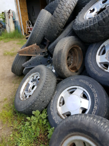 1976 chevy project truck and 200 tires