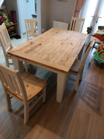 Solid wood table and chairs with thick top - Light Grey & Natural wood
