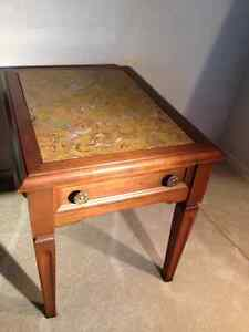 2 Solid Wood / Marble End Tables