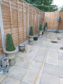 3 LARGE STONE POTS WITH ARTIFICIAL CONIFERS