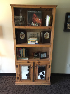 Cowhide Accented Bookcase