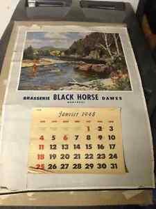 1948 BRASSERIE BLACK HORSE DAWES MONTREAL CALENDAR - PARKER PICK