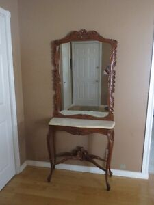 Antique Oak/Marble Top Hall Table with Mirror 3pcs