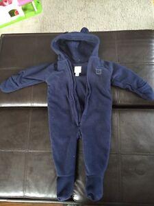 6-12 month old navy fleece snow suit