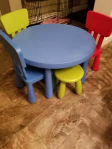 IKEA Children's Table with chairs and stool