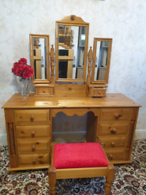 Solid pine dressing table, mirror & Stool
