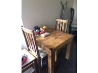 Hardwood table and 2 chairs