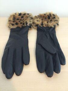 Leopard Fur Trim Long Leather Gloves