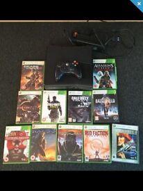 Xbox 360 slim 250gb black matt with pad and games