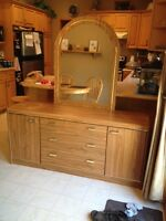 Dresser w/ mirror and matching armoire