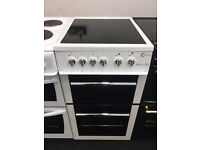 FLAVEL 50CM CEROMIC TOP ELECTRIC COOKER IN WHITE.