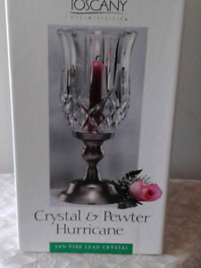 Brand new Crystal & Pewter Hurricane Candle Holder