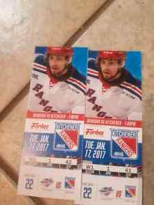 2 ice level tickets for Tuesday January 17