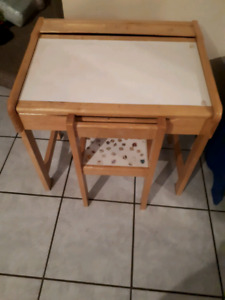 Child's wooden desk with chair