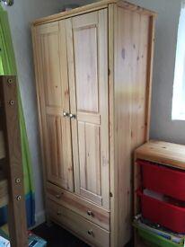 Kids single wardrobe pine