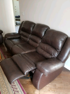 Two 3 seater leather couch