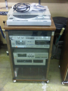 TURN TABLE, CABINET, AMP, ETC