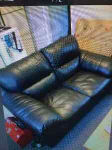 Leather love seat and Armchair