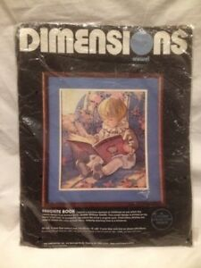 """1985 Dimensions Crewel Embroidery Kit """"Favourite Book"""" 14""""x16"""""""