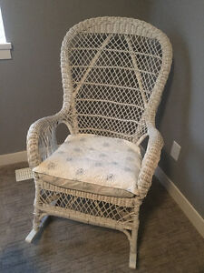 white wicker rocking chair  free for pick up
