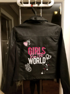 Justice girls faux leather jacket