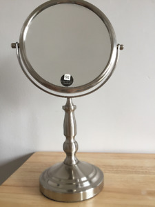 Reversible Silver Vanity Mirror - 5x Magnification, like new