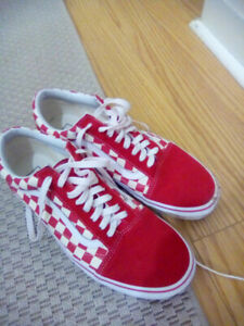 Vans High Top Red Checkerboard Size 10 Shoes 2 Days Old $10