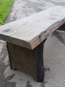 Weathered grey live edge bench