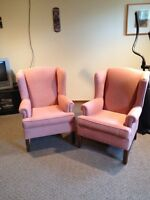 For sale 2 rose colored chairs