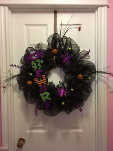 Handmade fall and Halloween wreaths