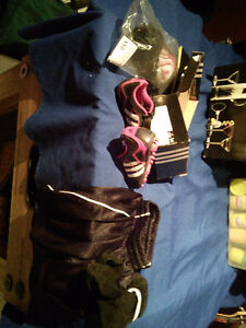 Youth soccer cleats, shin pads, shorts and socks