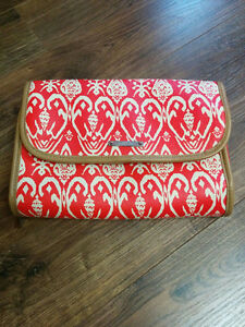 Stella & Dot Ikat Red Jewelry/Makeup Organizer Bag