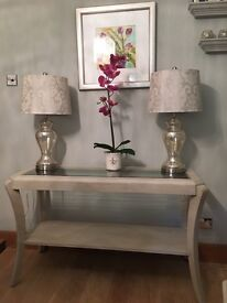 LARGE SOLID WOOD COUNTRY BIEGE CONSOLE TABLE