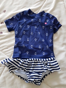 18 months sailor toddler  girl bathings suit