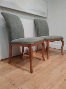 Green Velvet and Maple Side Chairs