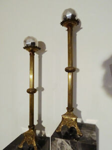 """salvaged 19thC CHAPEL ALTAR candle holders CHURCH cross 28""""H"""