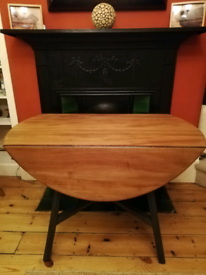 Ercol old colonial drop leaf blue label dining table. Seller refurbish