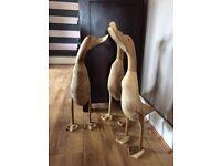 Pairs of Hand Carved Wooden Jumbo Ducks